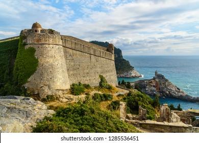 View of Castle Doria and Church of St. Peter in Portovenere or Porto Venere town on Ligurian coast. Province of La Spezia. Italy
