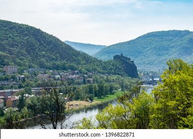 A view of the Střekov castle in Elbe river valley in Ústí nad Labem (Czechia)