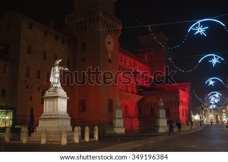 View of the castle of Ferrara at night with Christmas lights - Ferrara, Italy