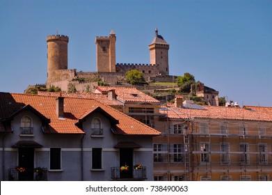 View of castle at Foix village  - Ariege / France