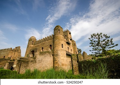 View of the castle of Ghebbi, in Gondar, Ethiopia, built by the King Fasilide in XVII cent.
