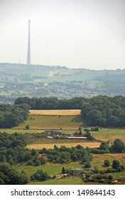 View from Castle Hill The Victorian Tower car park looking over Huddersfield  Emley Moor TV Mast