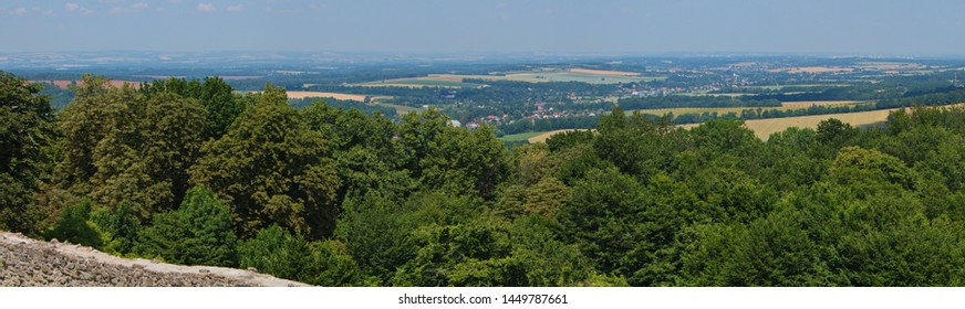 View from the castle Hukvaldy in Beskydy in Czech republic