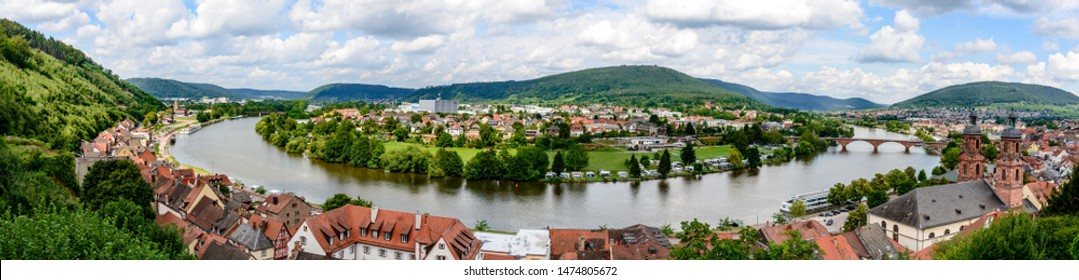 View from castle on old german town Miltenberg am Main river, St. Jacob catholic church, main bridge.     Odenwald, Bavaria, Germany