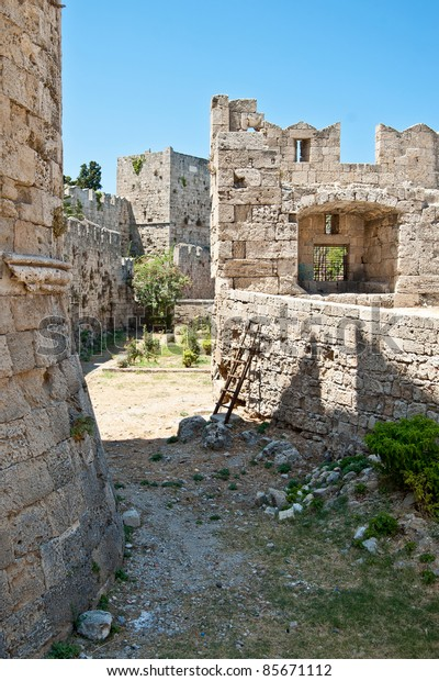 A view of the castle of Rhodes (Rodos)