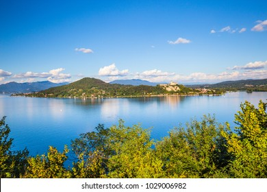 View of Castle and Rocca of Angera in front of Arona, on Lake Maggiore, Lombardy, Italy.