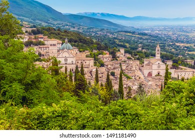 A view from the Castle Rocca Maggiore over the hill side town of Assisi, Umbria in summertime