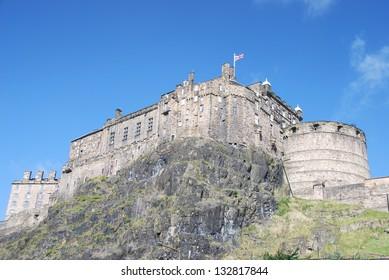 View of Castle Rock in Edinburgh, Scotland