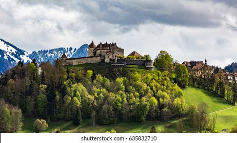 View of the Castle and Village Gruyeres in May 2017 in Switzerland