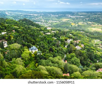 View from the castle wall of the Moors of the Moors, Castelo dos Mouros, is a hilltop medieval castle in Sintra, Portugal