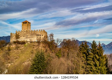 View from the castle of Zumelle to Mel, at the Borgo val Belluna, Belluno - Italy