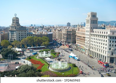 View of Catalonia Square in the sunshine day. Barcelona, Spain