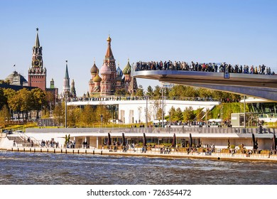 view of the Cathedral of the Basil of the Blessed through the park Zariadye in Moscow