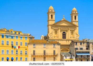 A view of cathedral building in Bastia port, Corsica island, France