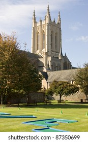 View of the Cathedral of Bury St Edmunds from Abbey Gardens, with crazy golf course in the foreground.  Suffolk.