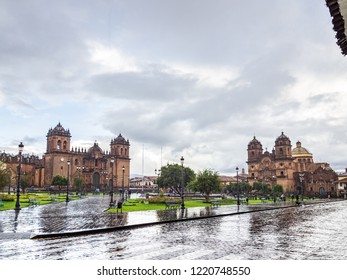 View of the Cathedral and the Compañia de Jesus church in the Plaza de Armas in Cusco, Peru