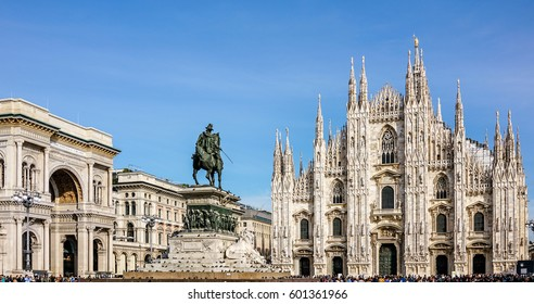 View Cathedral Duomo and Galleria Vittorio Emanuelle in Milan, Italy.