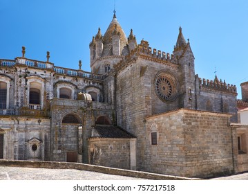 The view of Cathedral of Evora (Se de Evora), a Roman Catholic church whose real name is Basilica Cathedral of Our Lady of Assumption. Evora. Portugal.