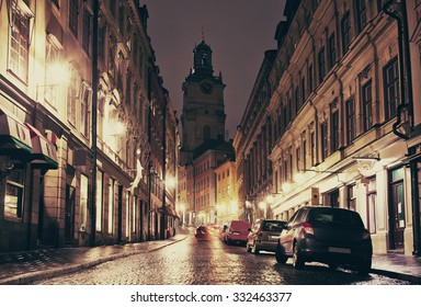 The view of cathedral in Gamla Stan, Stockholm at night.