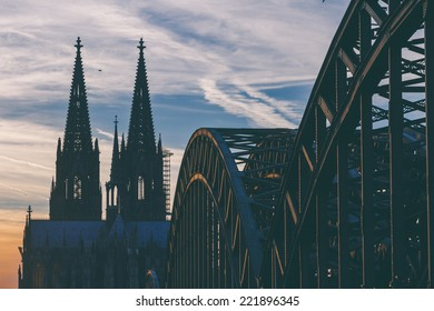 View of the cathedral and Hohenzollern Bridge in Cologne, Germany