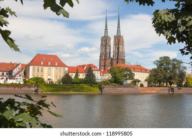 View at Cathedral Island and the Odra river. Wroclaw city. Poland. 17.10.2012