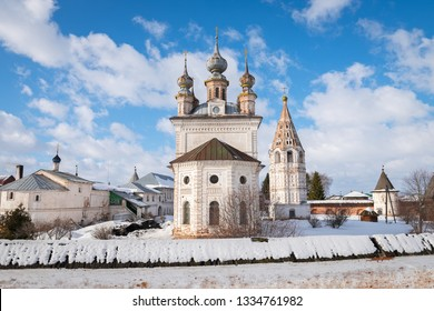 View of the Cathedral of Michael Archangel and other buildings of the monastery in Yuryev-Polsky, Russia