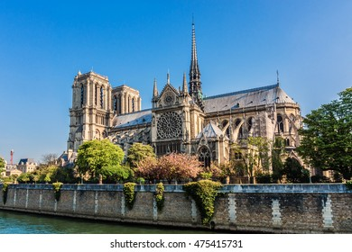 View of Cathedral Notre Dame de Paris - a most famous Gothic, Roman Catholic cathedral (1163 - 1345) on the eastern half of the Cite Island. Sunset.
