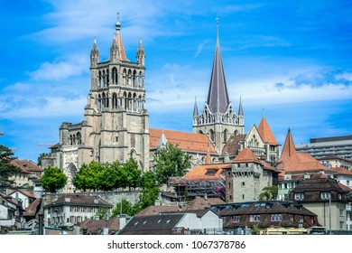 View of The Cathedral of Notre Dame of Lausanne, Switzerland.