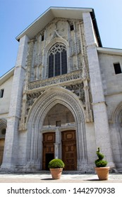View of the cathedral on the sunny day.Chambery.France.