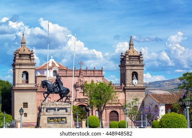 View of the cathedral and the Plaza de Armas in Ayacucho, Peru