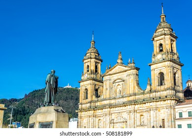 View of the cathedral in the Plaza de Bolivar in the center of Bogota, Colombia with Monserrate visible on the hill in the background