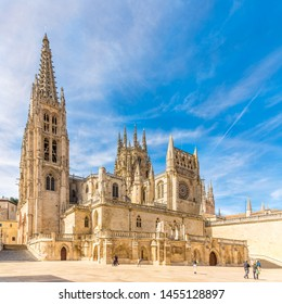 View at the Cathedral of Saint Mary from Rey San Fernando place in Burgos, Spain