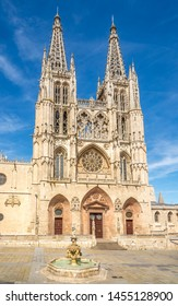 View at the Cathedral of Saint Mary from Santa Maria place in Burgos, Spain