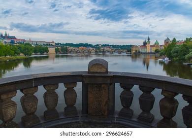 View of the Cathedral of Saint Vitus, Charles Bridge, Prague.