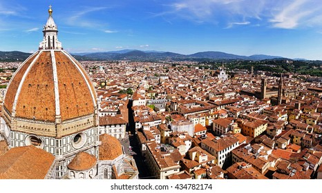 The view of the Cathedral Santa Maria del Fiore, view from the observation deck of the bell tower (Campanile di Giotto),Florence, Tuscany, Italy