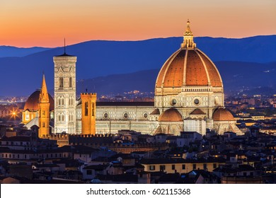 View of the Cathedral Santa Maria del Fiore at sunset. Florence. Italy