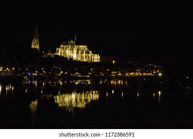 A view of the Cathedral st Etienne the night ( Auxerre Bourgogne)