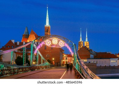 View of the Cathedral of St. John the Baptist on the island Tumski in Wroclaw on the sunset. Poland.