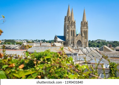 View of the cathedral in the town of Truro in Cornwall, England