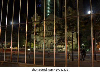 View of catholic church on night street of Toronto
