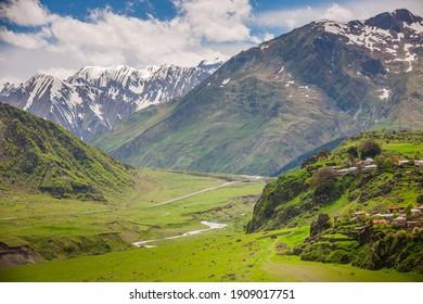 View of Caucasus mountains along Georgian Military Road, Georgia