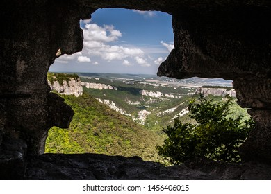 View from cave ancient city Mangup-Kale, Crimea, Russia
