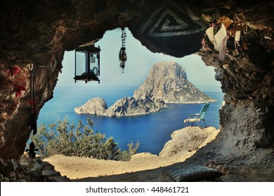 View from a cave on a chair, the rock and the sea