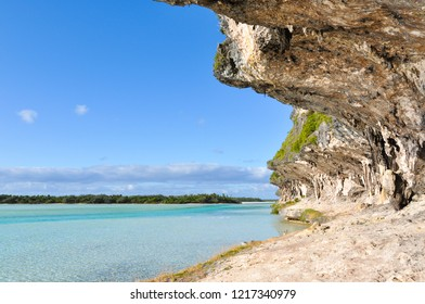 View from a cave on the lagoon of Ouvea Island in New Caledonia.