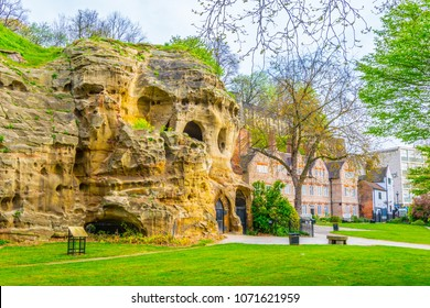 View of caves under the nottingham castle, England