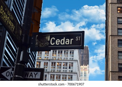 View of cedar street in Manhattan