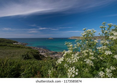 A view of the Celtic Sea near West Pentire, Corwall, England.