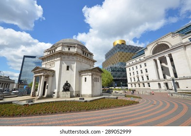 view of Centenary Square in Birmingham, UK, with the Hall of Memory, Birmingham Library and Baskerville House