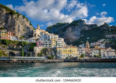 View of the center of Amalfi from the sea, Campania, Italy