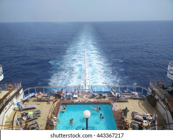 View from center of the back of Princess cruise ship